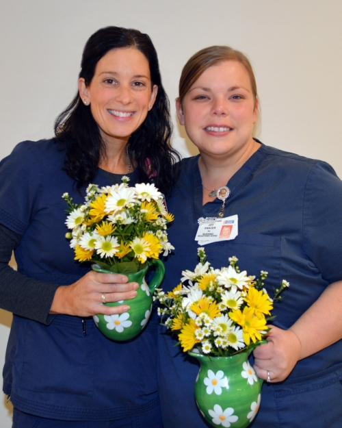 Susan Drummond, RN, left, and Joy Knauer, RN, are the recipients of the November/December Daisy Award for Extraordinary Nurses.