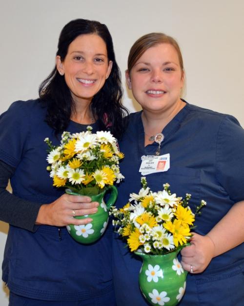 Susan Drummond, RN, left, and Joy Knauer, RN, are the recipients of the November/December Daisy Award for Extraordinary Nurses.