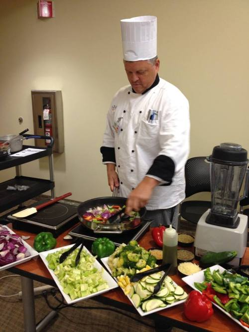 PRMC Executive Chef Stewart Davis demonstrates a healthy recipe.