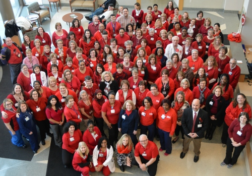 Peninsula Regional staff celebrated the 2016 Wear Red Day for women's heart health.